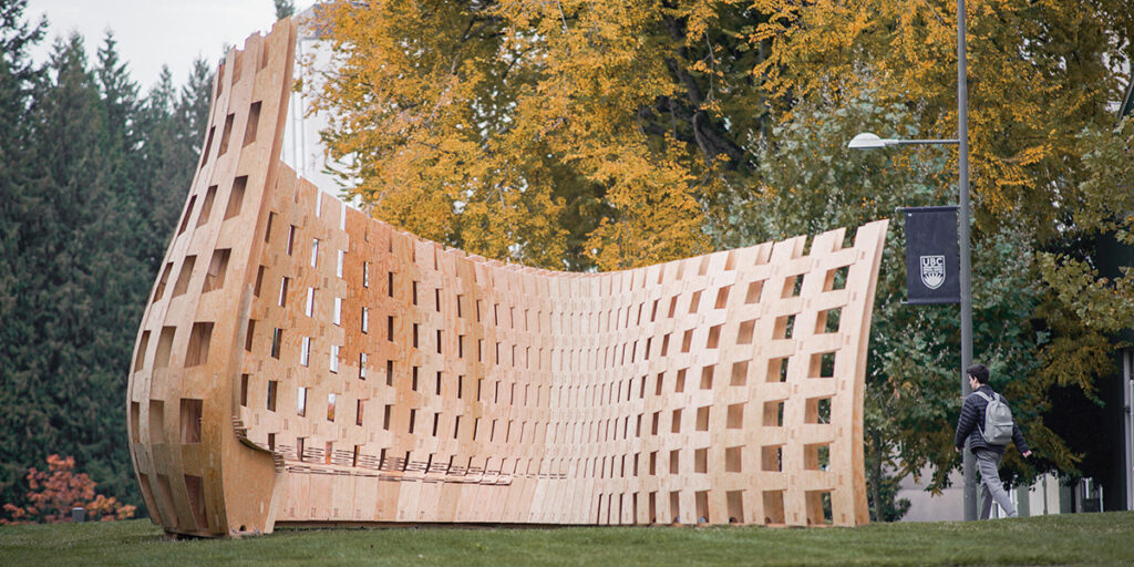image depicts the result of last year's workshop, where participants parametrically designed, fabricated and assembled a large wooden structure on the campus of UBC