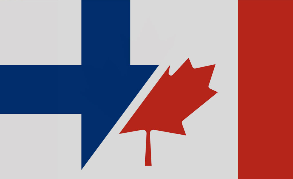 Combination of Canadian and Finnish flags representing Canadian delegation to Finland